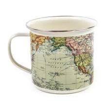 Caneca de café esmalte Outdoor World Map com OEM Design e ss aro para presente