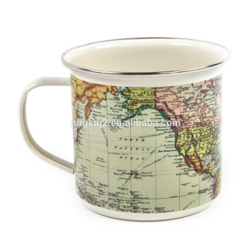 Caneca de café esmalte Outdoor World Map com OEM Design e ss aro para presente
