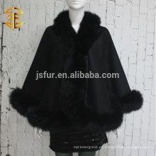 2014 Nuevos productos Noble Cabo Marca manto hecho a mano por mayor de cachemira y piel de Fox Trim Cabo