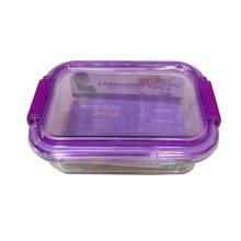 Tigela de salada de vidro de tampa colorida de alta qualidade
