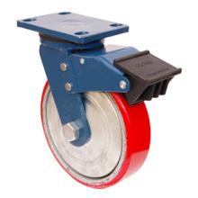 PU pivotante sur roulette en fonte avec double frein - Rouge (5505570)