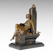 Classical Figure Statue Bird Lady Bronze Sculpture TPE-1012