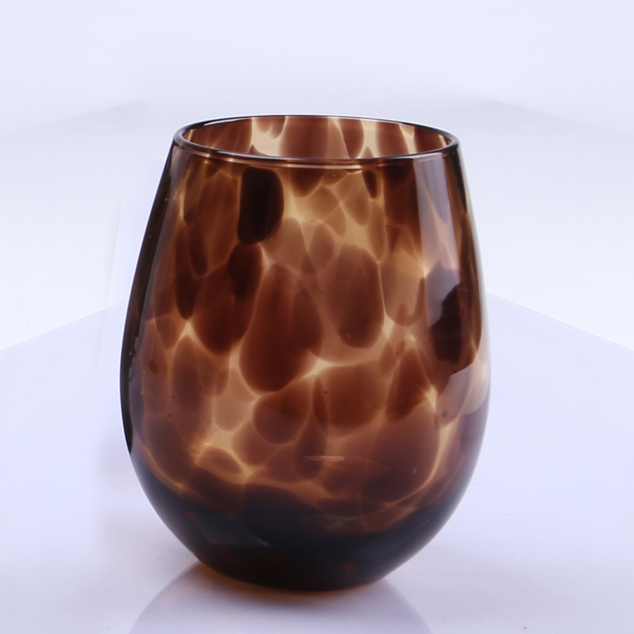 22oz Hand Made Amber Stemless Wine Glass