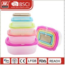 7PCS transparente Kunststoff Lunch Box Farbe angepasst Lebensmittel Lagerbehälter