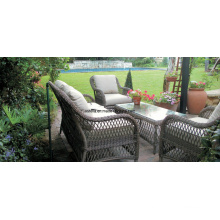 4 PC Garden Outdoor Wicker Rattan Sofa Furniture Set
