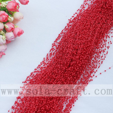 3MM Small-Size Red Artificial Wire Pearl Beaded Chains For Decorative