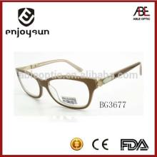 Marcos ópticos del acetato de la señora del color natural eyewear con insignia del OEM