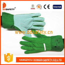 Green Cotton Canvas PVC Dotted on Palm Working Garden Gloves