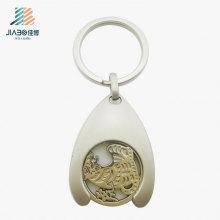 Token de liga de zinco de alta qualidade do trole do metal da prata com o gancho de 3cm para a promoção