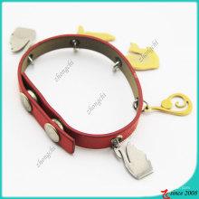 Liga de zinco encantos pulseira de couro genuíno vermelho (lb)