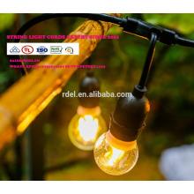 Guirlandes lumineuses commerciales extérieures de 48-Ft LED avec 15 douilles suspendues et 15 ampoules S14 claires, calibre 14 slt0177