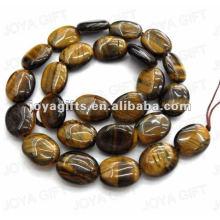 12x16mm natural tigereye pedra plana oval beads