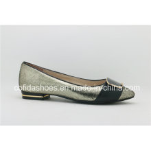 Chic Design Shiny Leather Lady Ballet Shoes com Metal Heel