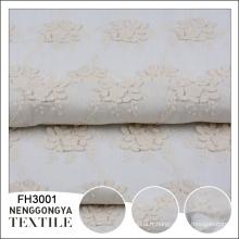 Tissu de coton de broderie florale blanche de conception d'usine de la Chine