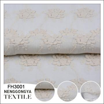 Tela de algodón bordada floral blanca tejida diseño de la fábrica de China