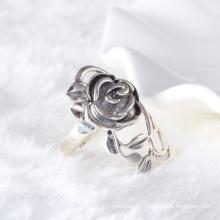 retro style big rose flower unisex ring