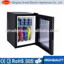 Sin ruido puerta de vidrio reversible mini refrigerador con luz led