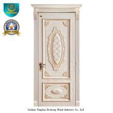 Европейский Стиль деревянная дверь с резьбой (белый цвет)