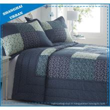 Ensemble de courtepointe en polyester à motif patchwork floral bleu marine