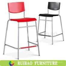 2016 New Design Perna alta e pernas longas Cadeiras de bar de plástico com aço inoxidável