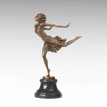 Tänzer Figur Statue Run Mädchen Bronze Skulptur TPE-1023