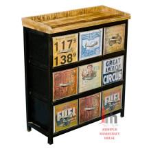 Wood top iron multiple drawers storage sideboard