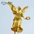 Edifício de alta qualidade decoração anjo de bronze com trompete estátua