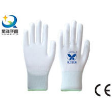 White Polyester Liner with White PU Coated Safety Work Gloves (PU001)
