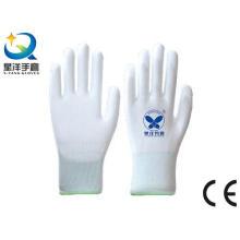 Белый полиэфирный вкладыш с белыми PU защитными перчатками (PU001)