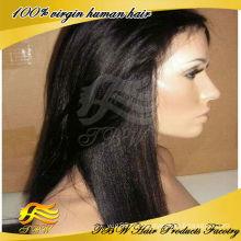2015 venda quente italiano yaki cabelo humano peruca cheia do laço cabelo liso barato preço de atacado