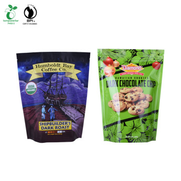 Eco Friendly Compostable Stand Up Bags Dengan Valve and zipper