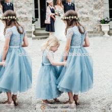 Lovely Princess Baby Girl vestido de verde menta Botón de la hermana de la fiesta de boda 2016 Girl Dress