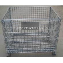 Jaula de almacenamiento plegable y apilable / Contenedor de malla de alambre galvanizado