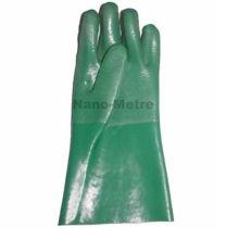 NMSAFETY Cotton interlock full coated green PVC glove sandy finish 27cm