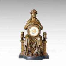 Clock Statue Queen Lion Bell Bronze Sculpture Tpc-031