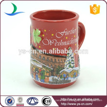 YScc0003-01 Castle And Christmas Trees Pattern Christmas Soup Mug For Kids