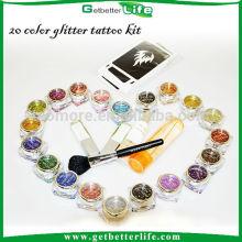 Venta por mayor 20 brillo tinta temporal del tatuaje kit de tatuaje, tatuajes temporales del brillo de la pintura del cuerpo
