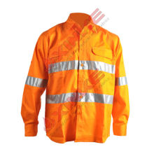 100% Cotton fire retardant work shirts reflective tape for industrial