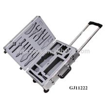 caixa de ferramentas de carrinho de alumínio forte com inserção de espuma personalizado sobre o caso tampa & caso inferior