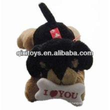 valentine plush dog with I LOVE YOU bone