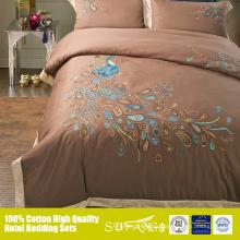 La funda nórdica de sábanas de algodón egipcio de pavo real crea un lino OEM