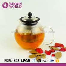New Drinkware Heat Resistant Pyrex Handle Glass Teapot with Stainless Steel Plunger 800ML