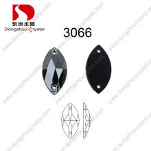 Großverkauf 9 * 18mm Navette Glaskristallsteine schwarzes Diomand nähen auf Steinen für Schuhe