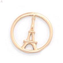 Hohe qualität benutzerdefinierte schmuck metall rose gold dekorative Eiffelturm fenster schwimm charme medaillon platten