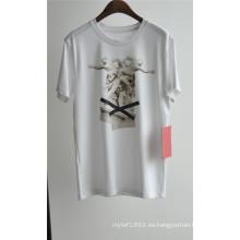 Diseño de moda de los hombres impreso camiseta de algodón blanco para el verano