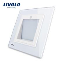 Fabricant, Livolo Nouvelle Arrivée, Norme Royaume-Uni, Lampe de porche / couloir / d'angle, Commutateur de footlights, Couleur blanche, VL-W291JD-12