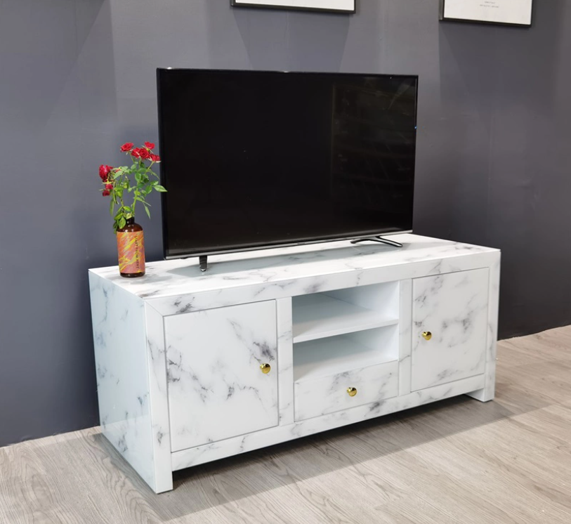 Glass TV cabinet is used to place the TV