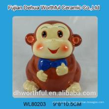 Tarro de galletas de cerámica al por mayor en forma de mono