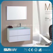 Móveis de banheiro com MDF de venda quente com pia de vidro (SW-MF1201)
