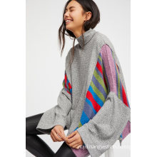 Oversized Shape and Contrast Sweater and Knit Fabrications